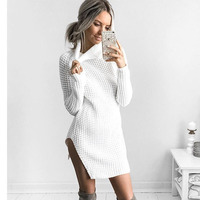 2019 New Arrival Women Autumn Clothes Wholesale Blouse Fashion Fall Long High Collar Sweater