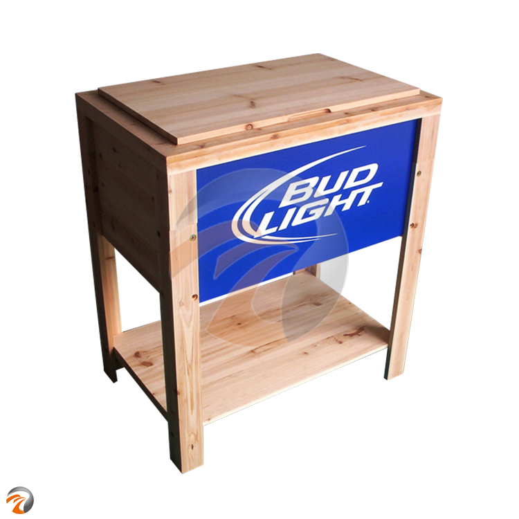 Backyard Expressions Decorative Outdoor Wooden Cooler Picnic Square Ice Beer Wooden Cooler Box