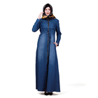 Modern Islamic Clothing Turkey Zipper Long Sleeve Loose Long Denim Dress With Pocket