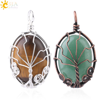 CSJA vintage wire wrap gemstone tree of life pendant natural oval cabochons stone reiki pendant for necklace making F785