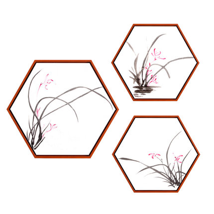 Pintura decorativa de tinta de loto para sala de estar, simple, hexagonal, nuevo, mural de estilo chino, pintura de fondo para pared