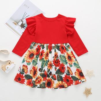 Hot Sale Sunflower Pattern Children Dress Fall Winter Baby Girl Cotton Dresses Kids Frock Design