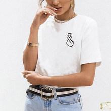 Женская футболка в стиле Харадзюку, женская футболка с принтом сердца, ulzzang, женская летняя одежда, 2019(China)