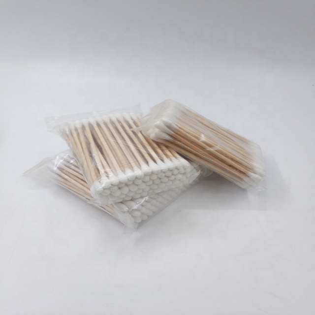100pcs wooden handle cleaning ear cotton buds