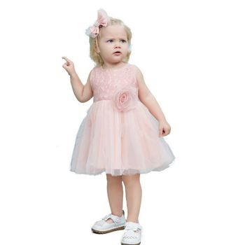 2014 designs 1 year baby girl frock pink lace flower party kids dresses