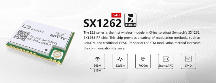 Cleqee-2 E22-900M22S SX1262 915Mhz 22dBm 6500m Long Range SMD IPEX  Wireless Transceiver (transmitter/receiver) LoRa IOT Module
