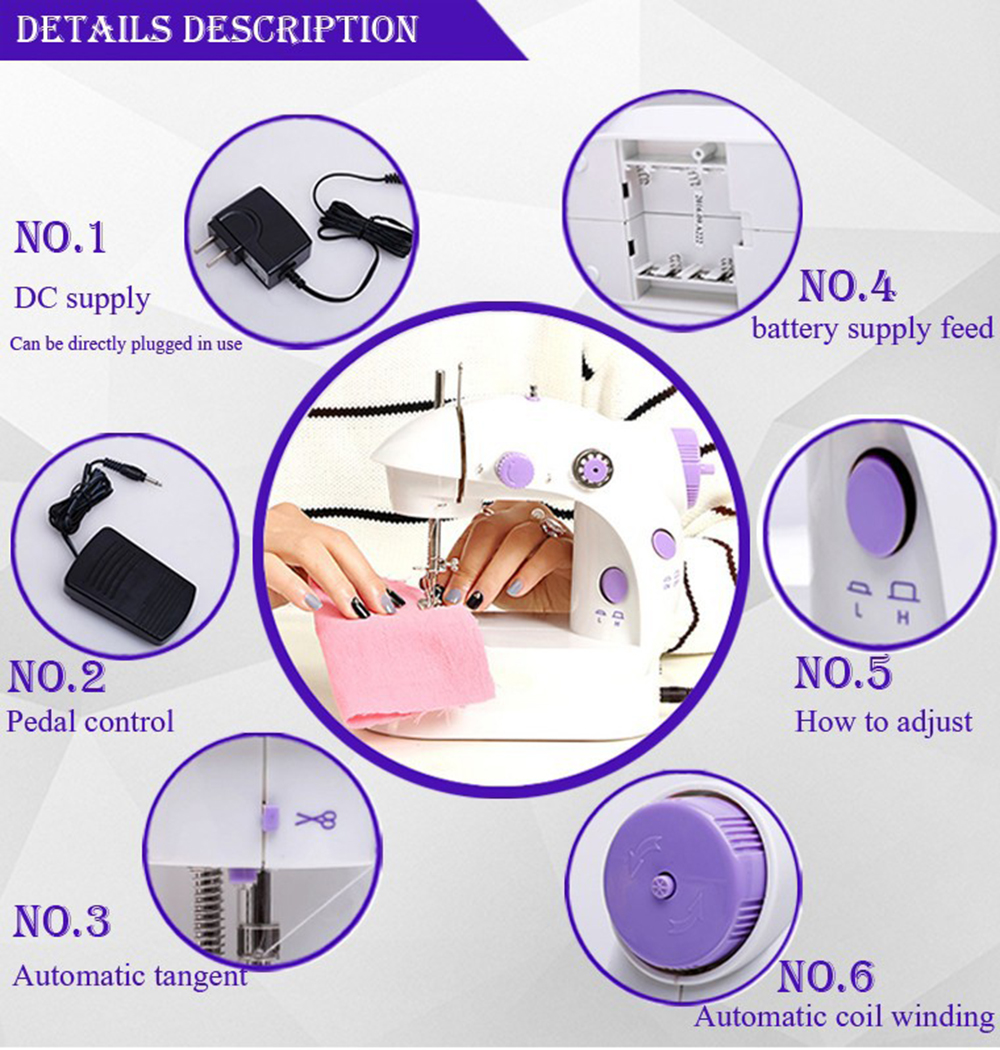 Wholesale 202 Mini Portable Sewing Machine Household Electric sewing machine