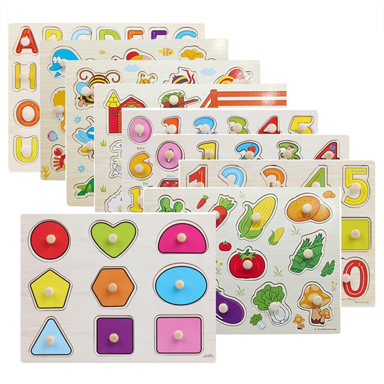 30cm Kid Early Educational Toy Alphabet And Digit Learning Wooden Jigsaw Puzzle Hand Grab wooden alphabet puzzle