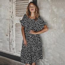 2020 летнее женское платье средней длины, элегантное свободное платье с коротким рукавом, с принтом в горошек, с высокой талией, повседневные ...(Китай)