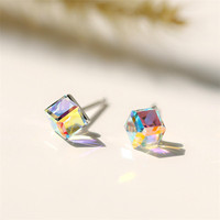 Christmas Jewelry Gifts 925 Sterling Silver Austrian Crystals Aurora Earrings CZ Aurora Borealis Cube Stud Earring