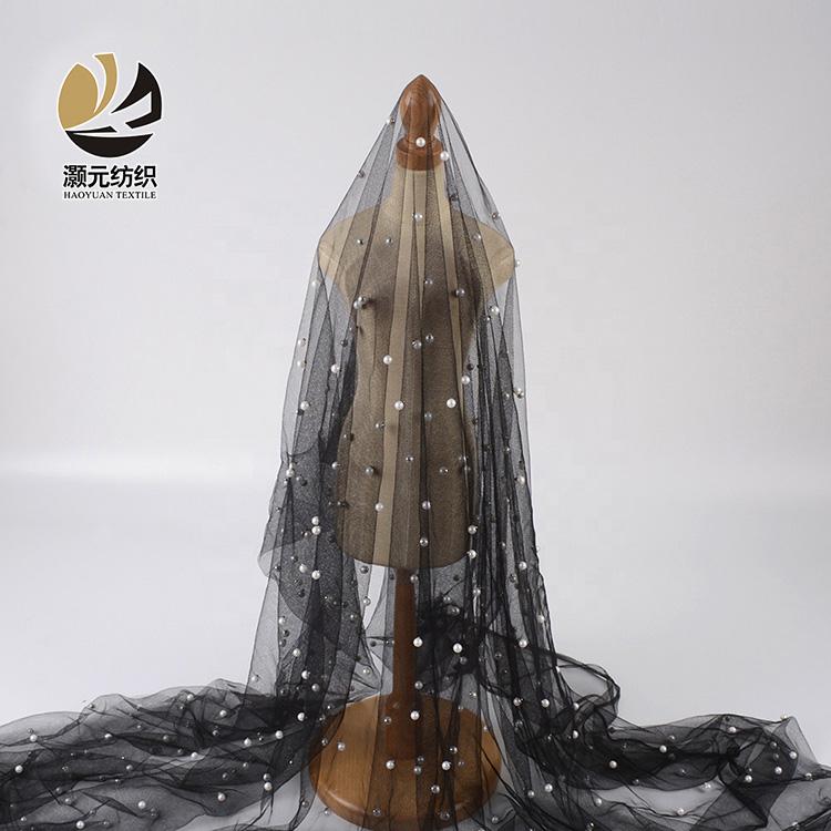 100% Polyester Kualitas Tinggi Mewah Putih Mutiara Hitam Net Tulle Manik-manik Pernikahan Gaun Kain