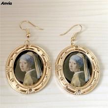 Женские винтажные серьги-гвоздики с масляной росписью, металлические золотистые серьги, ювелирные изделия для женщин, 2019(Китай)