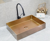 Gold washroom stainless steel water basin countertop stainless steel hand basin