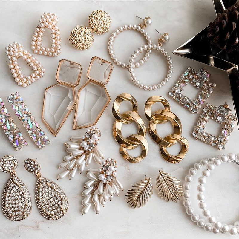 Fashion Crystal Drop Vintage Simulated Pearls Maxi Geometric Statement Earrings for Women Jewelry