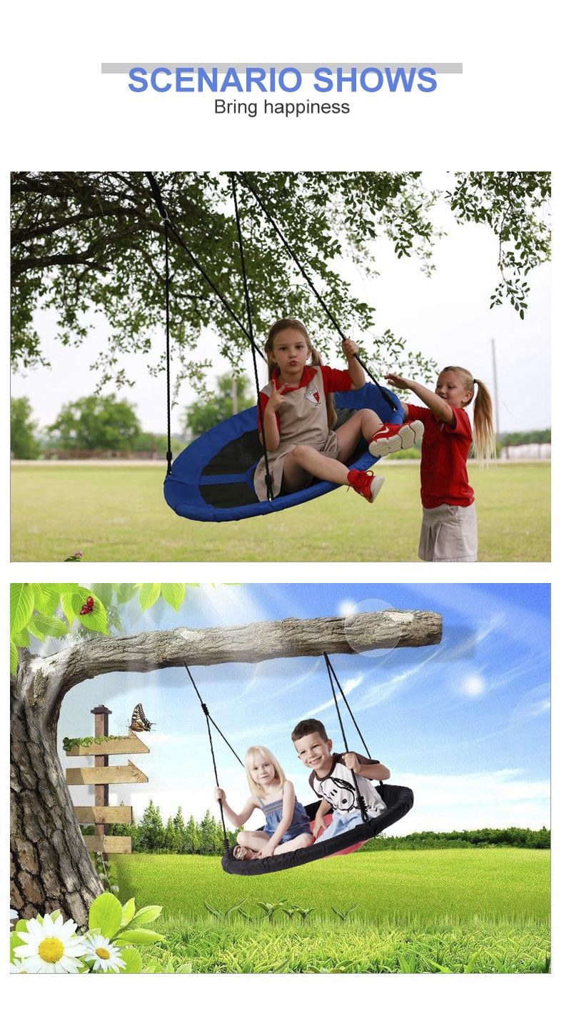 Round 내구성 플랫폼 PE 로프 Kids Play Set Patio Yard 야외 Tree 둥지 Swing, 순 swing