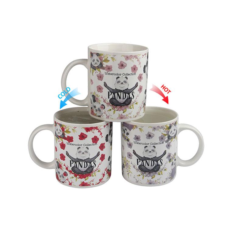 Temperature control color changing panda ceramic+mugs children cup print coffee