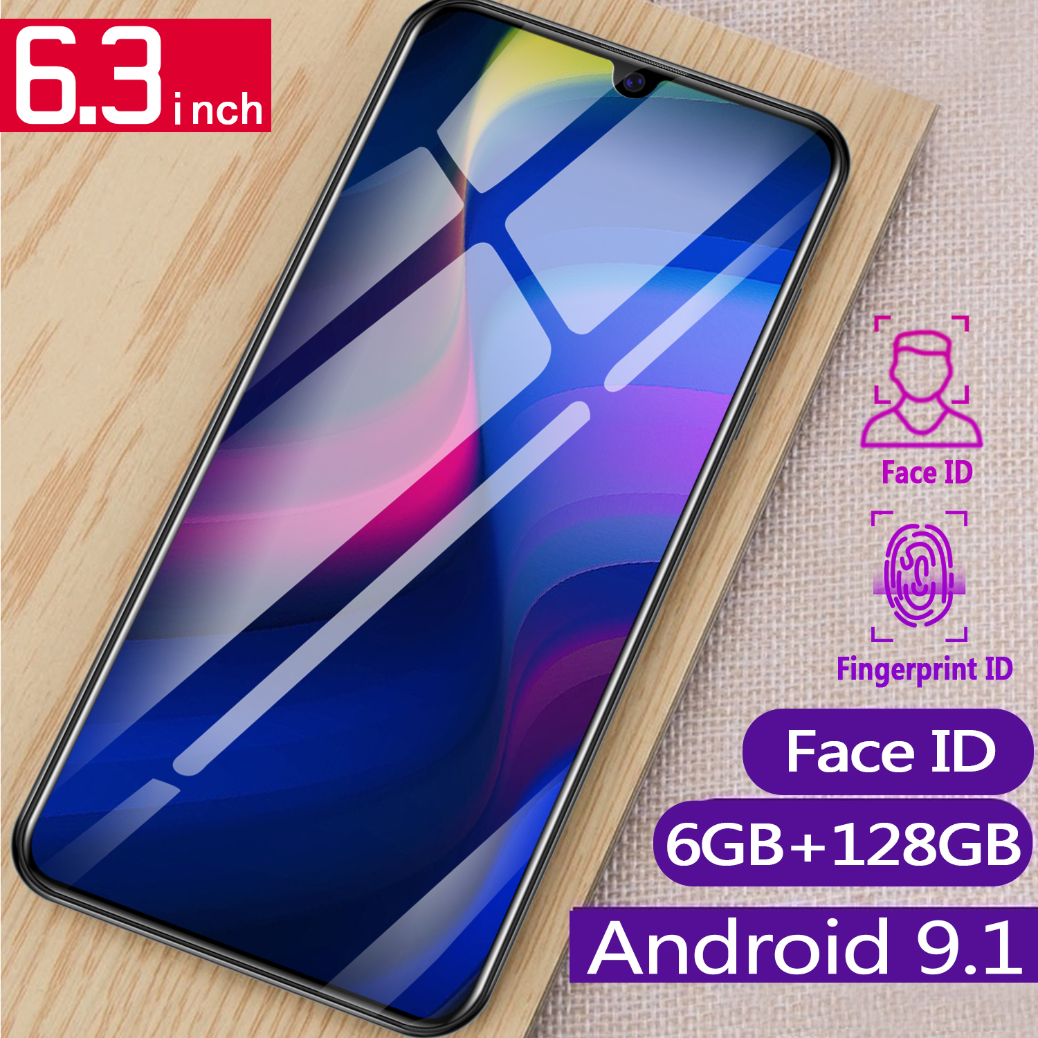 wholesale cheap smart phone android 9.1 mobile phone 6.3