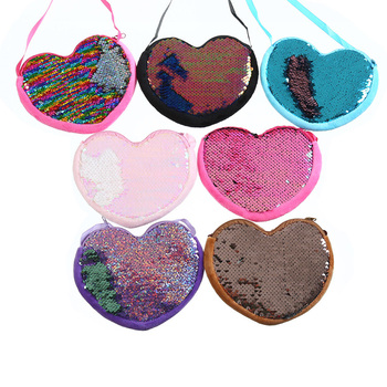 Fashion Wholesale Promotional Birthday Gift Sequin Coin Bag Kids Zipper Heart Shaped Cross body Coin Purse For Girls