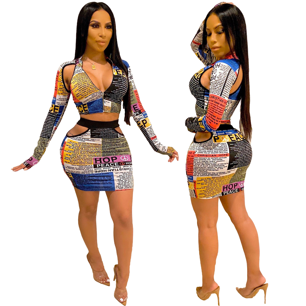 MF7263 - ladies stylish newspaper hollow out skirts and <strong>zip</strong> up crop top two piece se