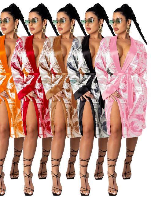 High Quality Plus Size Satin Sleeping Kimono Robe  money print clothing  Hotel Silk Bath Robe for Women