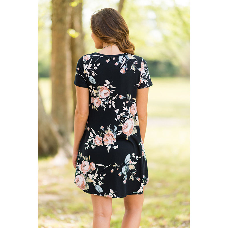 Summer Short Sleeve Fashion t shirt Dress Sexy Full Printer Floral Skirt Girl t-shirt Female Dresses Women One-Piece Dress
