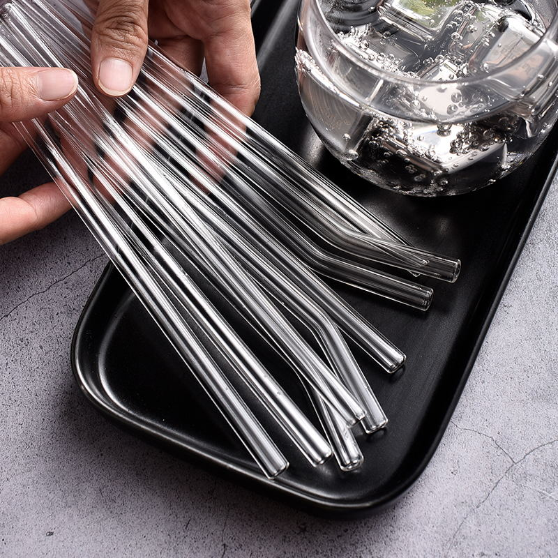3+1 reusable 8mm 12mm pyrex borosilicate clear glass straw set of 3 straight and bent straws with 1 cleaning brush