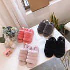 Wholesale women sheepskin fur colorful lined slippers, soft slides for women winter warm women slippers