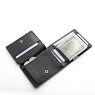 Multifunctional Custom Logo Front Pocket Coin RFID Blocking Genuine Leather Carbon Fiber Mens Wallets Money Clips