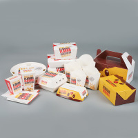 Disposable fast food paper package/box easy pack easy to go