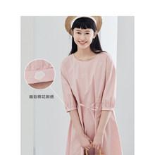 Платье А-силуэта из хлопка с круглым вырезом и завязками на талии inman, Новое поступление, весна 2020(Китай)
