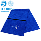 Microfiber promotional personalized gym sports towel with zip pocket