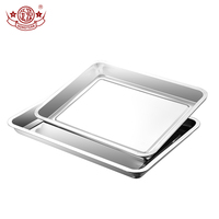 Hot selling stainless steel square dinner plates food tray