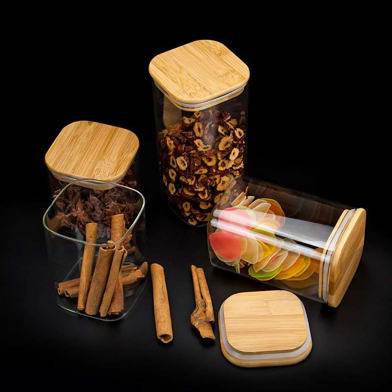 High borolicicate square glass jars with bamboo lid China import clear customize logo storage dry food