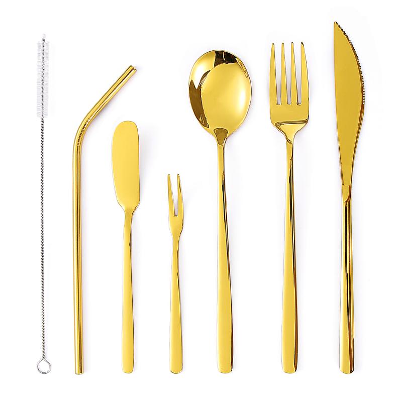 Лидер продаж: Переносной Многоразовые Путешествия пикника позолоченный кухонные столовые приборы посуда набор соломинок