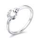 New Fashion Best Price 925 Sterling Silver White CZ Moon Shaped Adjustable Ring for Girls