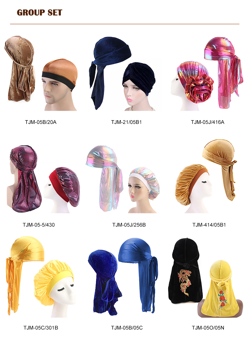 Top Fashion Accessories 2PCS Women Solid Silky Du rag Men Velvet Durag Suit Turban Caps Set Plain Velvet&Silky Durag