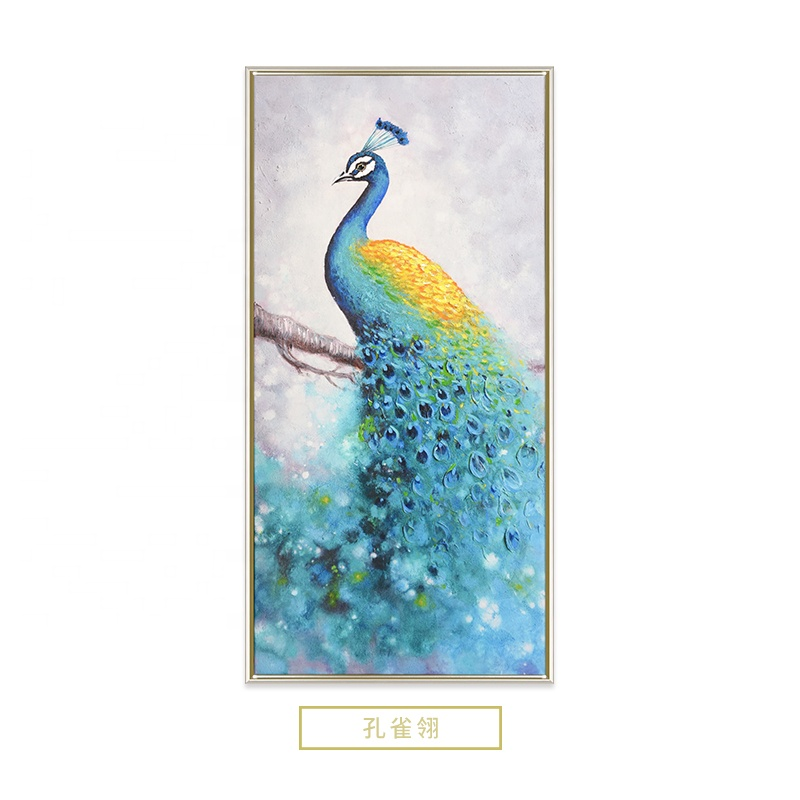 Seven Wall Arts Print with Hand Embellishment Peacock  on Branch Animal Panting on Canvas
