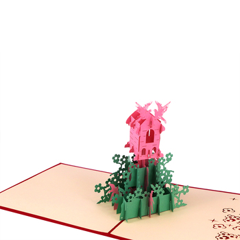 Special Paper Craft 3D Pop Up Greeting Card WIth Building