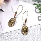 Wholesale Hot Selling Fashion Indian head earrings female alloy drop oil pendant large earrings
