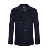 Winter Classic Wool Padded Men Coat Double Breasted Quilted Men Pea Coat