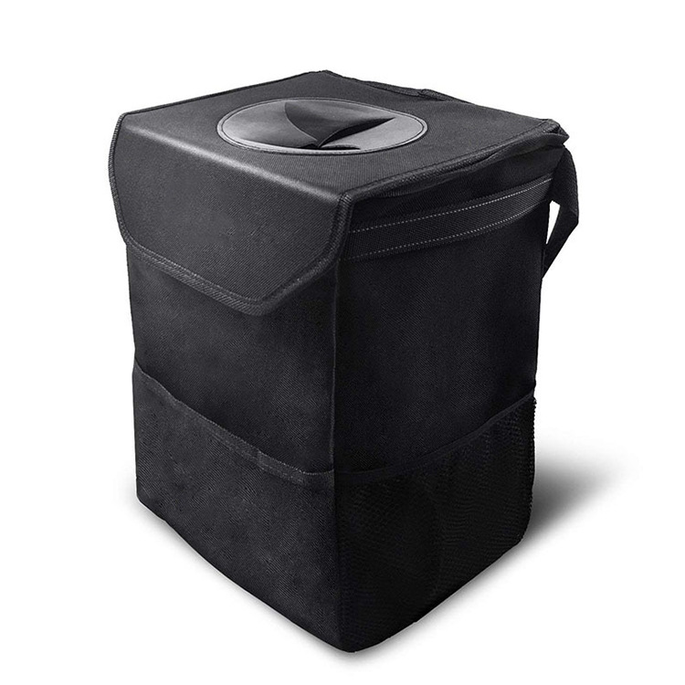 100% Leakproof Car Organizer Trash Bin Waterproof Car Garbage Can with Lid Storage Pockets