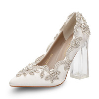 2019 hot sell fashion 3colors luxury bling wedding party crystal rhinestone pumps high heels bridal shoes