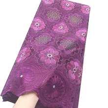 Последние 2020 вуаль нигерийские кружевные ткани Вышивка Королевский синий Золотая кружевная ткань Дубай, Африканский стиль хлопок кружевна...(Китай)