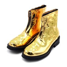 Мужские ботильоны с золотой вышивкой в виде дракона; Подиумные ботинки из натуральной кожи с круглым носком на молнии; обувь для увеличения ...(Китай)