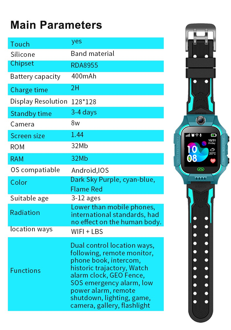 Life  Waterproof Z6 Kids Smart Watch 1.44'' Color Touch Screen Smart Phone Children LBS Tracking Kids Smart Watch with Camera