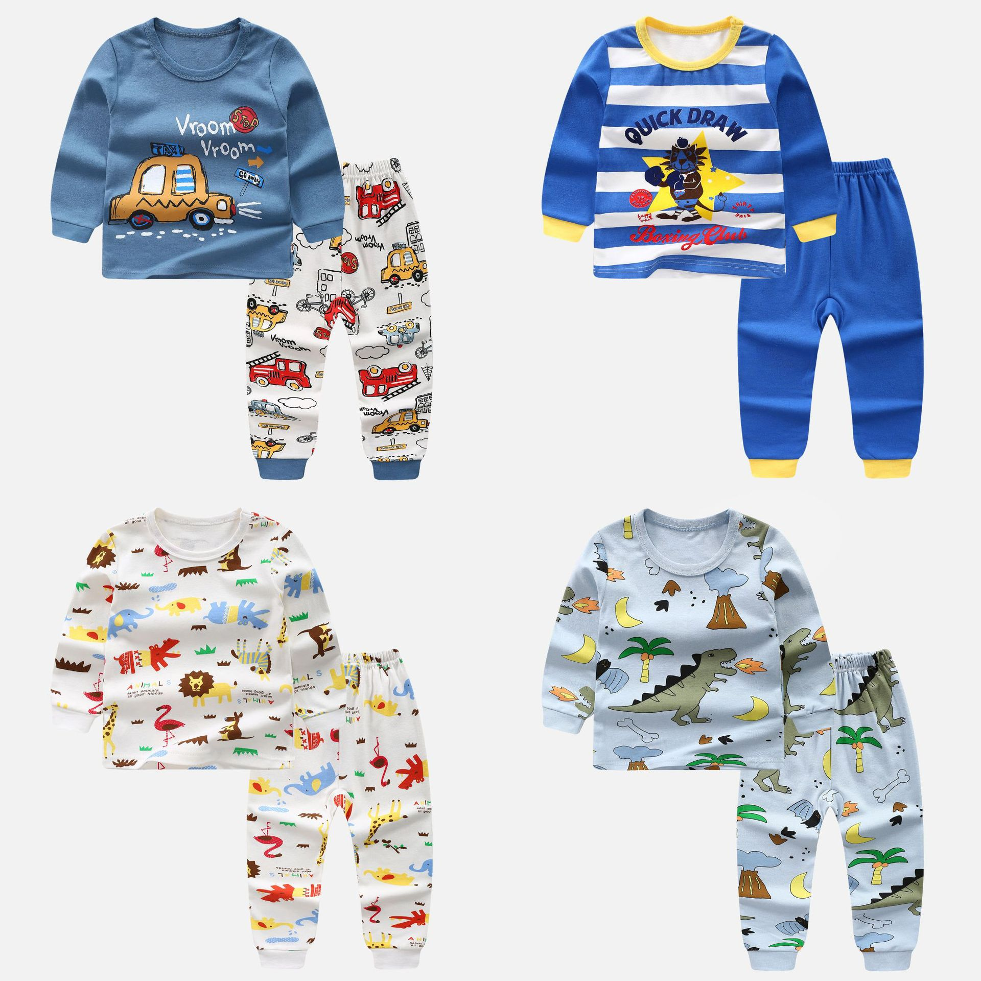 high quality Boy cartoon Pajama Suit Toddler Long Sleeve Sleepwear Kid Outfit