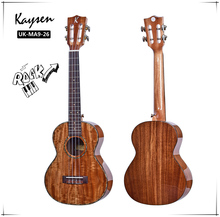 High end effen 26inch <span class=keywords><strong>acacia</strong></span> tenor 4strings gloss afwerking, natuurlijke ukulele met gratis 10mm padding tas.