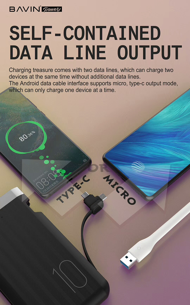 Custom Portable Mini Mobile Battery Charger 10000mah External Power Bank High Capacity Built-in Micro USB Type C Cable for iphoe