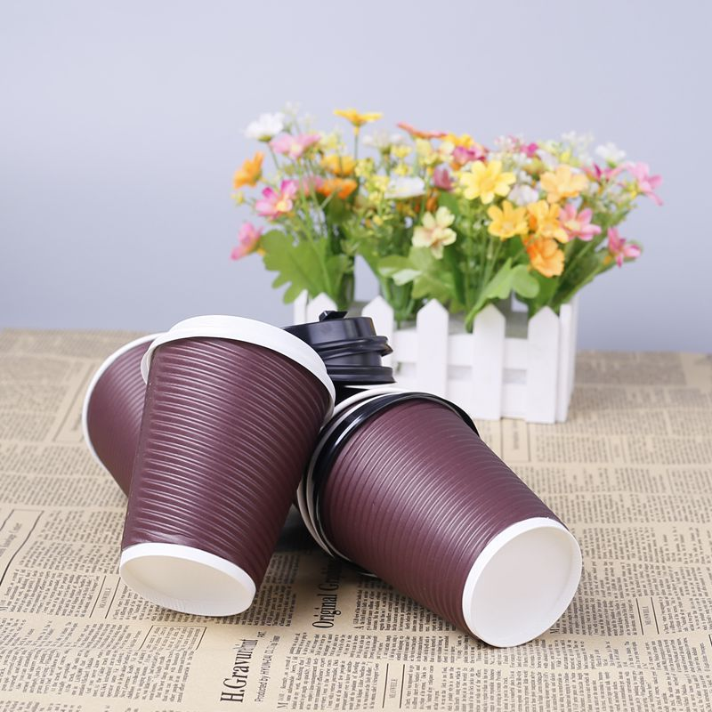 Custom Design Disposable Hot Coffee 10 oz ripple wall paper cup