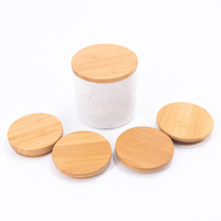 Mescente 2.9 wood empty candle jars lids with laser print
